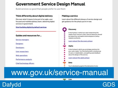 Screenshot of the Government Service Design Manual homepage