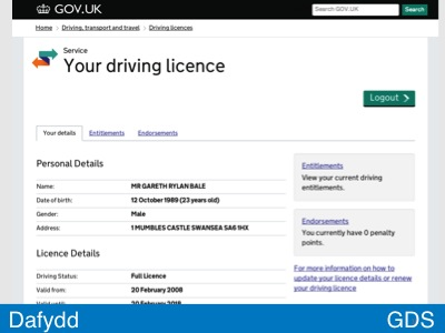 Screenshot of DVLA view my driving licence alpha