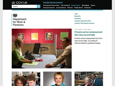 GOV.UK Department for Work and Pensions homepage