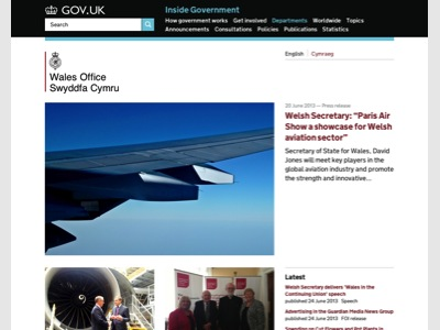 GOV.UK Wales Office homepage
