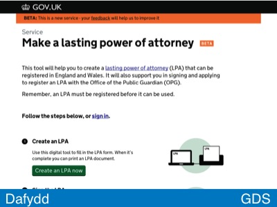 Screenshot of lasting power of attorney beta