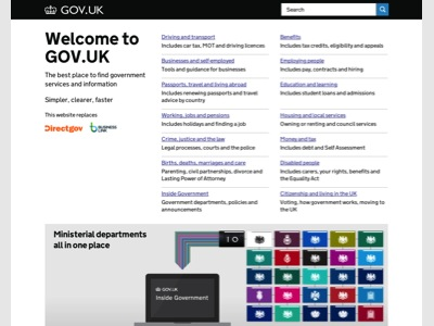 GOV.UK homepage