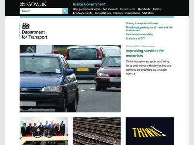 GOV.UK Department for Transport homepage